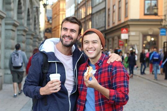 Gay couple enjoying tourism around Europe