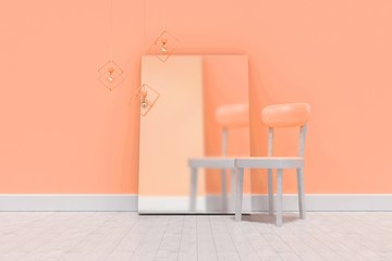 Composite image of empty chair by blank whiteboard against wall