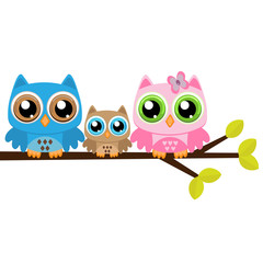 Owls family on a branch