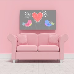 Composite image of pink couch against blank picture frame