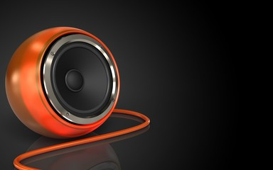 3d blank orange speaker