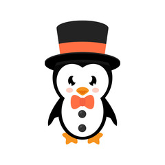 cartoon penguin with hat and tie