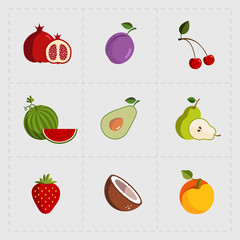 Colorful Fruit Icon Set on White Background