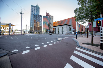 View on the streets at the modern office district during the morning in Rotterdam city