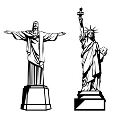 The Statue Of Liberty New York USA and the statue of Christ The Redeemer in Rio de Janeiro Brazil. World's most popular tourist attraction