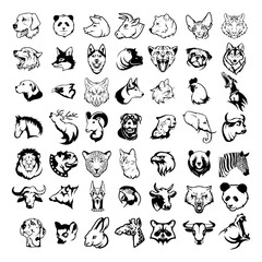Big animal heads set  including king lion, bengal tiger, howling wolf, faithful dog, domestic cat, cow, nose bull, panda, deer, grizzly bear, African giraffe, horse, bulldog.