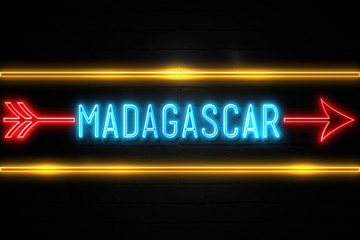 Madagascar  - fluorescent Neon Sign on brickwall Front view