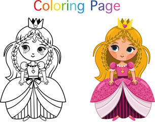 Princess Coloring Page (Vector illustration)