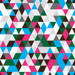 Abstract seamless pattern of triangles. Contrasting colors.