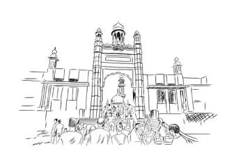 Hand drawn sketch of Haji Ali Mumbai India. Vector illustration.