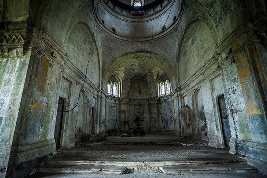 Interior of abandoned church of Dmitry Solunsky