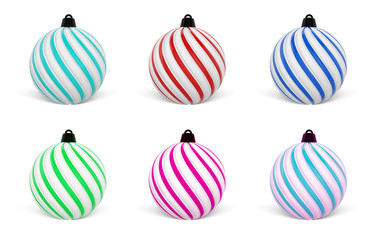 Christmas Ball in different colors. Twisted Christmas Balls on white background. 3D Rendering.