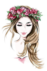 Hand drawn beautiful young woman in flower wreath. Cute girl with long hair. Sketch. Vector illustration.