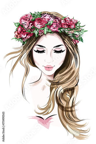 Hand Drawn Beautiful Young Woman In Flower Wreath Cute Girl With