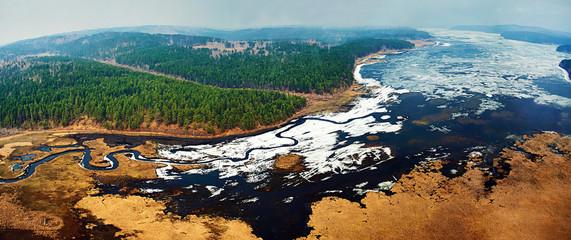 Aerial view of beautiful nature landscape in Siberia. Panoramic view.