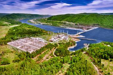 Hydroelectric power station in Krasnoyarsk. Aerial view.