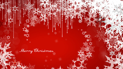 Christmas background with snowflakes and simple Merry Christmas text - red version