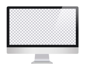 Monitor in imac style with blank screen, isolated on white background. Monitor with transparent monitor, screen. Monitor with blank screen isolated . Computer screen - vector illustration.Imac copy