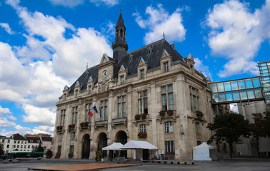 The Saint Denis Town hall at summer day, France.