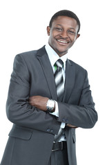Photo of smiling  african man dressed in suit standing isolated