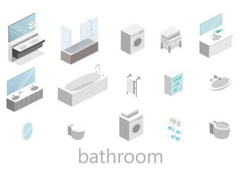 flat 3D isolated Isometric interior of bathroom