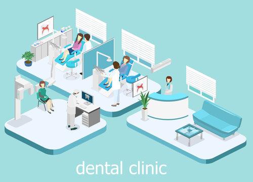 Dental Clinic. flat interior of dentist's office.