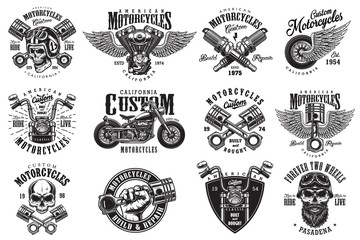 Set of vintage custom motorcycle emblems, labels, badges, logos, prints, templates. Layered, isolated on white background Easy rider