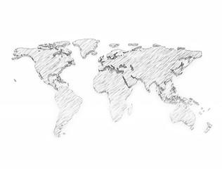 World map 3d pencil sketch