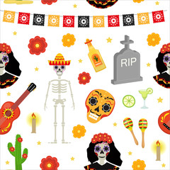 Day of the dead holiday in Mexico seamless pattern with sugar skulls. Skeleton endless background. Dia de Muertos repeating texture. Vector illustration