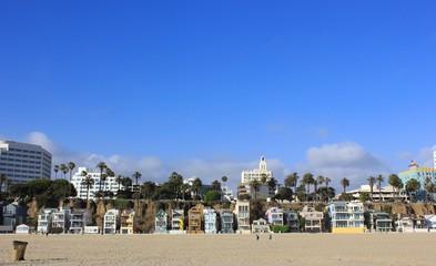 Houses on Santa Monica beach, Los Angeles, California, USA