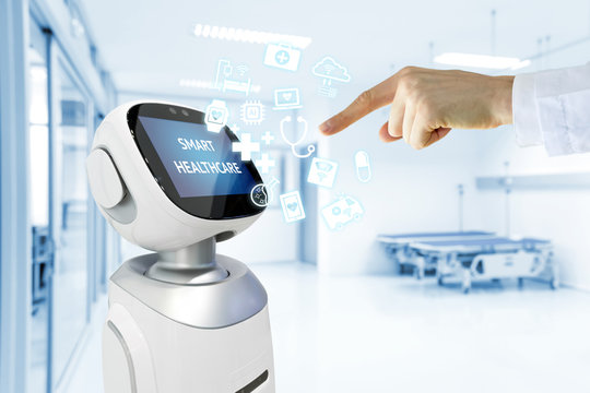 Robotic advisor service technology in healthcare smart hospital , artificial intelligence concept. Doctor finger point to robot and icons.Blue tone image.