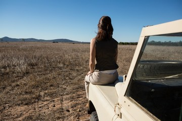 Rear view of woman on vehicle hood at landscape