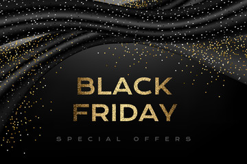 Black friday luxury poster with black decorations and silver confetti.