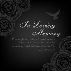 Funeral card. Black roses decorations with flying dove on the dark background