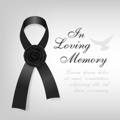 Funeral card. Black awareness ribbon with black rose flower on the light background