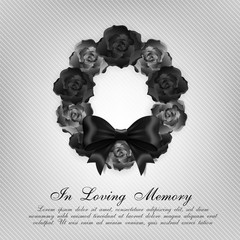 Funeral card. Black roses wreath and black bow ribbon on the light background