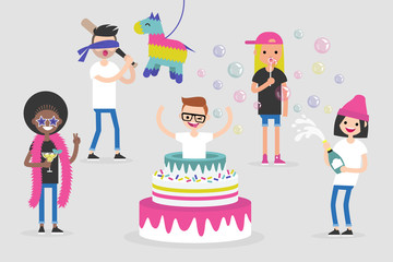 Celebration. Birthday party. A group of young adults having fun. Flat editable bright illustration. Clip art