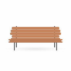 Wooden bench. Street brown bench isolated on white background