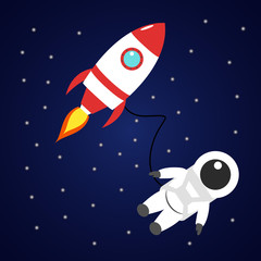 Astronaut and red rocket in space