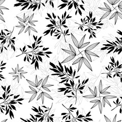 Vector black and white tropical leaves summer seamless pattern with tropical plants and leaves on white background. Great for vacation themed fabric, wallpaper, packaging.