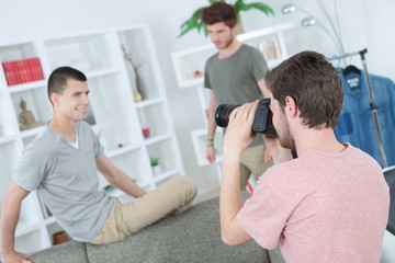 young photographers shooting in studio