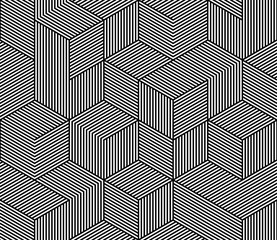 Seamless vector pattern texture with abstract hexagon grid 3d cube structure.