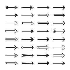 Collection of back vector arrows.