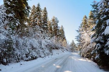 Beautiful snowy road to Zuruldi mount in Hatsvali, Upper Svaneti region of Georgia