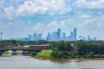 Panorama of Houston, Texas from city docks