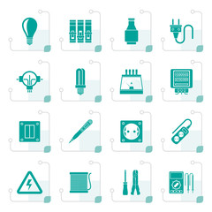 Stylized Electrical devices and equipment icons - vector icon set