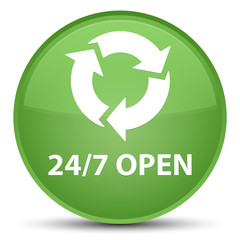 24/7 open special soft green round button