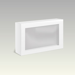 White product cardboard package box with window. Vector illustration