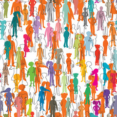 colorful seamless pattern with people