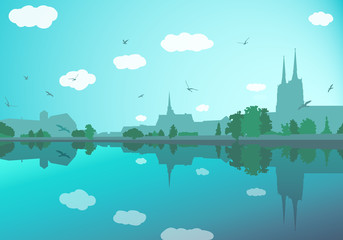 Poster Turquoise Landscape with old city buildings, river, trees, sky and birds